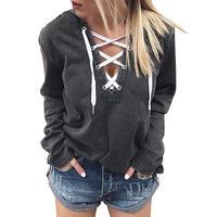 Casual Women Hoodies Sweatshirt V Neck Pullovers Female Long Sleeve Bandage Tracksuits Jumper Tops Camisetas Mujer