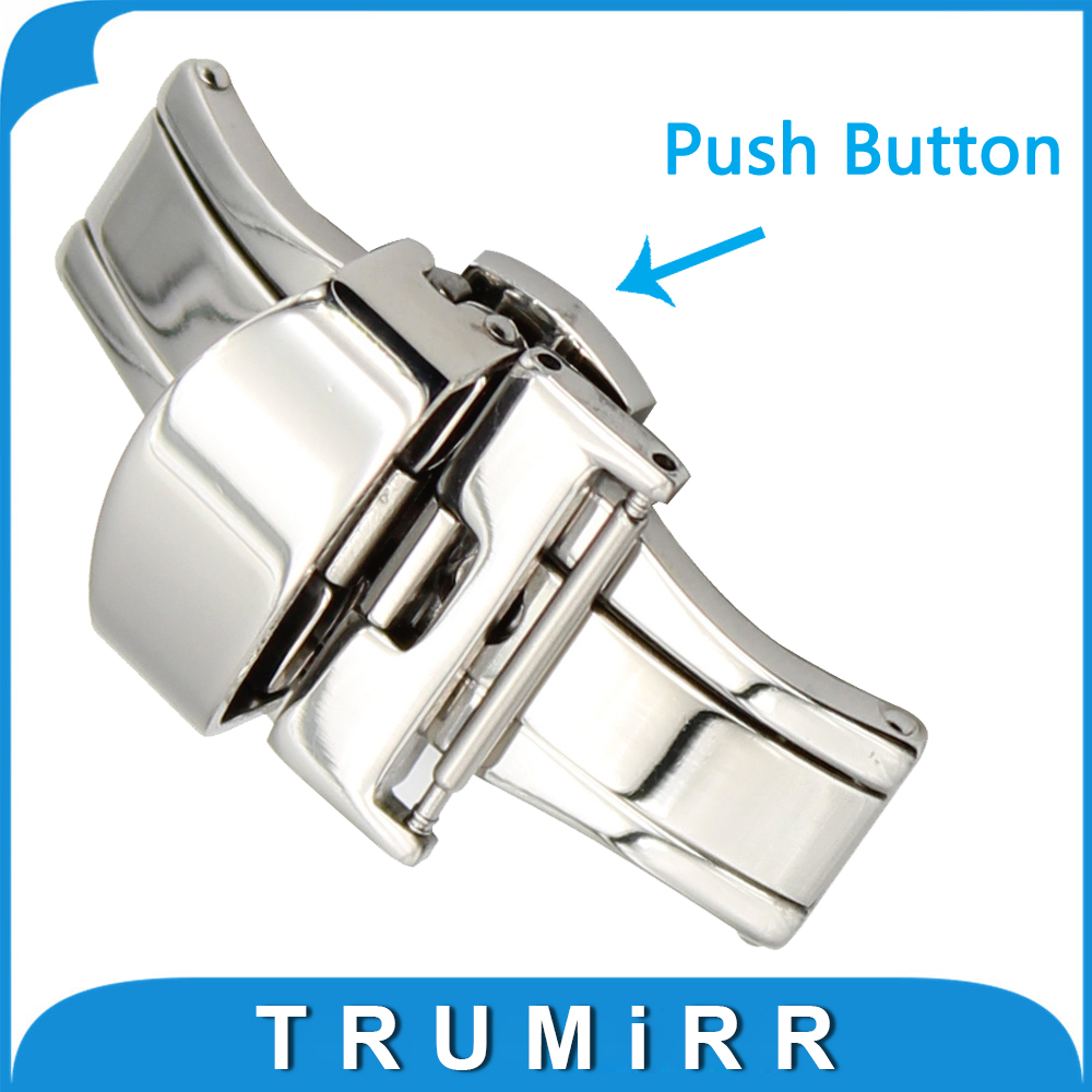 16mm 18mm 20mm Double Push Button Polished Clasp Stainless Steel Butterfly Deployment Buckle for Leather Strap Nylon Watch Band купить