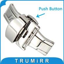 16mm 18mm 20mm pulsador doble pulido butterfly implementación de cierre de acero inoxidable hebilla de correa de cuero de nylon venda de reloj