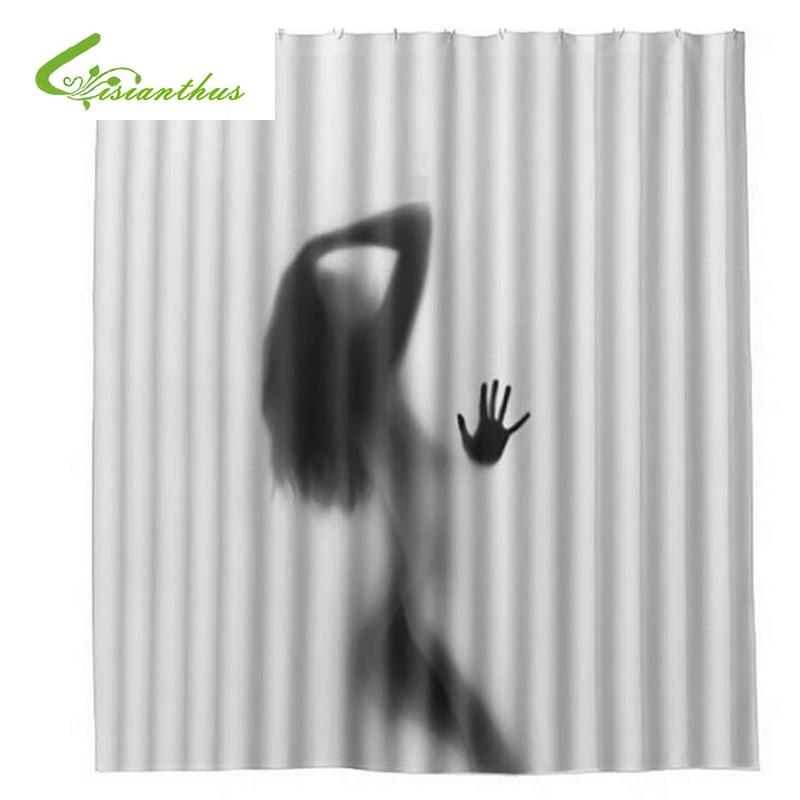 Modes radošā seksīga meitene un sieviešu ēnu siluets vannas dušas aizkars ūdensnecaurlaidīga vannas istabas aizkaru mājas apdare