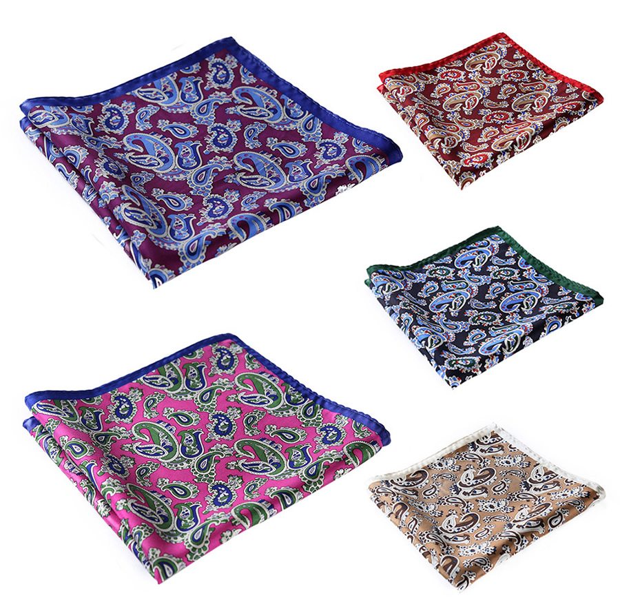 Handkerchief 100% Natural Silk Satin Mens Hanky Fashion Classic Wedding Party Pocket Square #N30