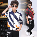 Boys Outfits Cotton Clothing Sets For children Sports Suits Spring Kids Tracksuits Boys stripe Jacket & Pants 6 8 10 12 14 years