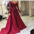 2017 New Arrive Burgundy Evening Dresses Sheer Long Sleeves Mermaid Detachable Train Lace Appliques Beading Party Gowns