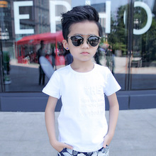 New Summer Sweatshirt Boys T-shirts Solid White Gray Breathable Cotton Clothes Fashion Letter Hamdsome Boy Tees