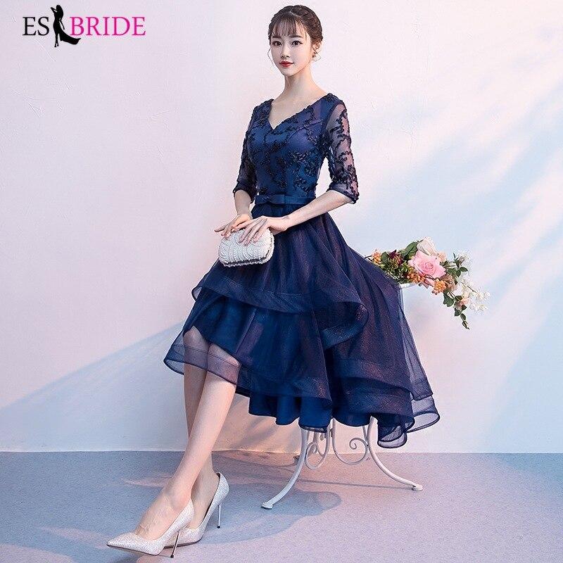 Bleu Royal longues robes De soirée 2019 nouveauté élégante a-ligne décontracté dentelle Robe fête formelle demi manches Robe De soirée ES1854