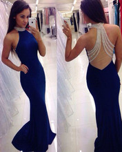 Girls Sexy Mermaid Beaded Jersey Sweep Train Royal Blue Formal Evening Dresses Gowns Girls Party Dresses robe de soiree courte