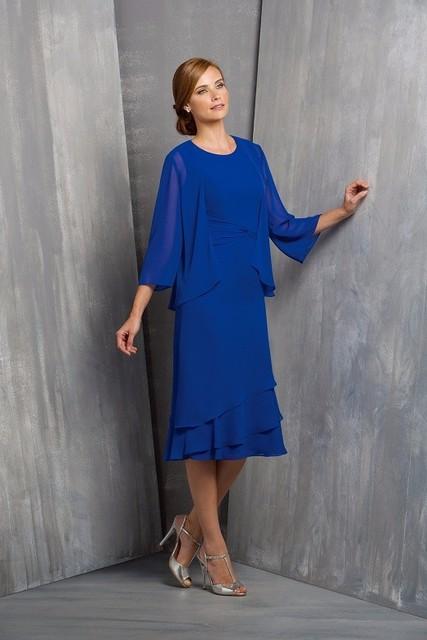 Honey qiao mãe dos vestidos de noiva chiffon 2 peças set Azul Royal Longo vestido de Noite Desgaste Do Partido Barato Ternos para Casamentos À Noite