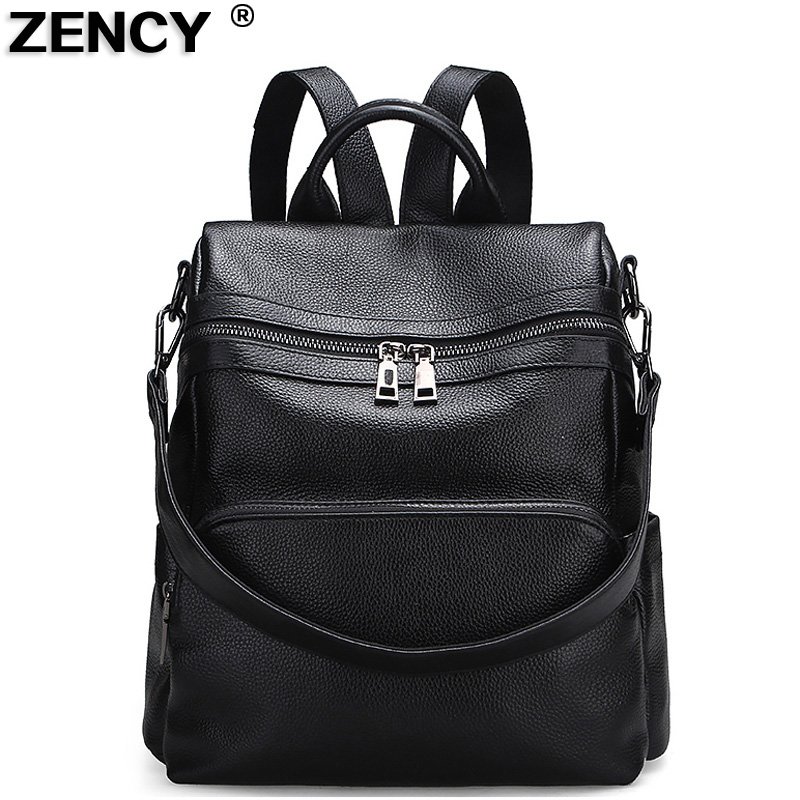 ZENCY Backpack Famous Brands 100% Genuine Cow Leather Shopping Backpacks Soft Natural Top Layer Cowhide Women Female School Bags цена 2017