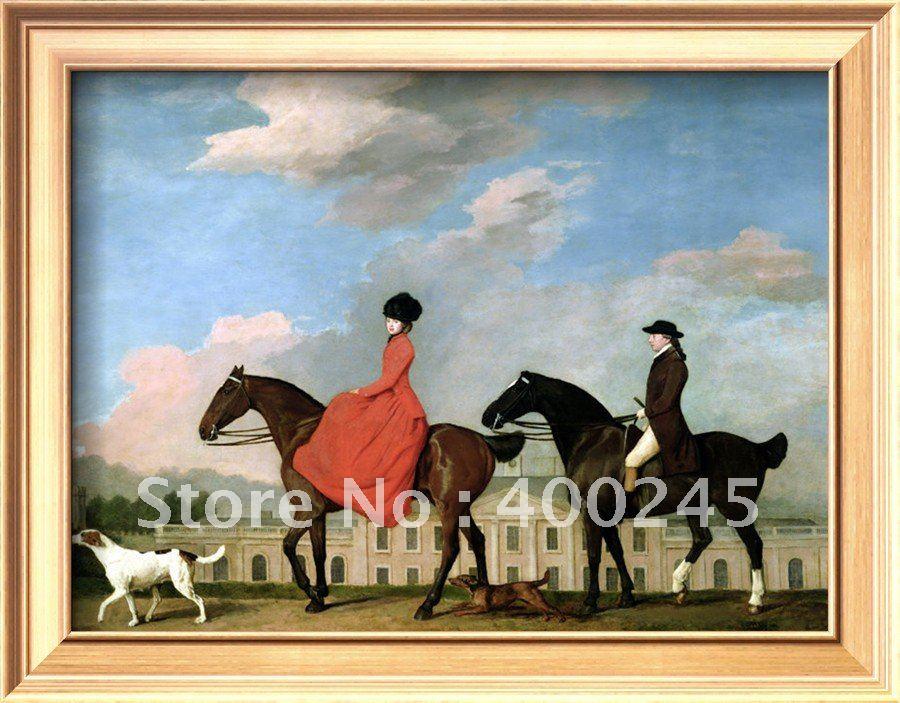 Современные художественные лошади и собаки Джон и София мустеры езда в холле колвика Джордж Стаббс картины ручная работа+ высокое качество