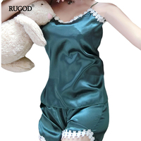 RUGOD Two Piece Set Sexy Lace Silk Satin Pajamas Sets Short Pants Sleepwear Sets V Neck