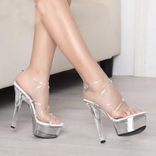 Fashion Model Show Strap Sandals 15CM Thick High Heel Shoes Platform Clear Pumps Bridal Wedding Shoes Pole Dancer Sexy Shoes