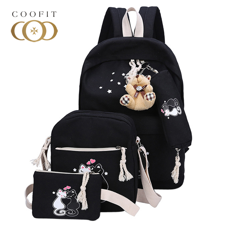Coofit 3 Pcs Backpack Sets Cute Women Canvas Backpack Cat Printed School Bags For Girls Teenager Composite Bags Female Book Bag miyahouse preppy style canvas school backpack for teenager girls cute unicorn printed school bag female travel bag