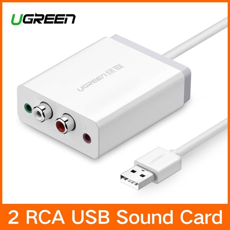Ugreen 2 RCA USB interfaz de Audio tarjeta de sonido 3,5mm adaptador USB para micrófono altavoz para ordenador portátil sonido externa tarjeta