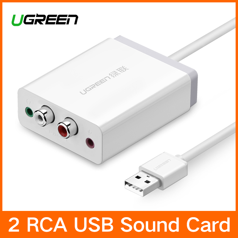 Ugreen 2 RCA USB Soundkarte Audio-Interface 3,5mm USB Adapter zu Lautsprecher Mikrofon für Laptop Computer Externe Sound karte