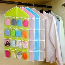 Armazenamento de roupa íntima dupla face, 2 peças, 16 bolsos, armazenamento, pendurado, organizador de maquiagem, prateleira transparente rack de sutiã,