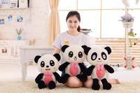 Petit mignon en peluche panda jouet arc panda poupée cadeau environ 60 cm