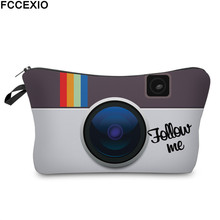 FCCEXIO New 3D Printed Makeup Bags Camera Pattern Fashion Co