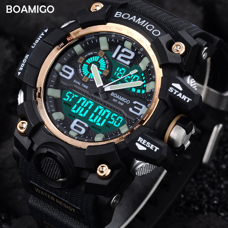 Men Sports Watches BOAMIGO Brand Digital LED Watch Fashion Quartz Watch Rubber Wristwatch Waterproof Clock Relogio Masculino