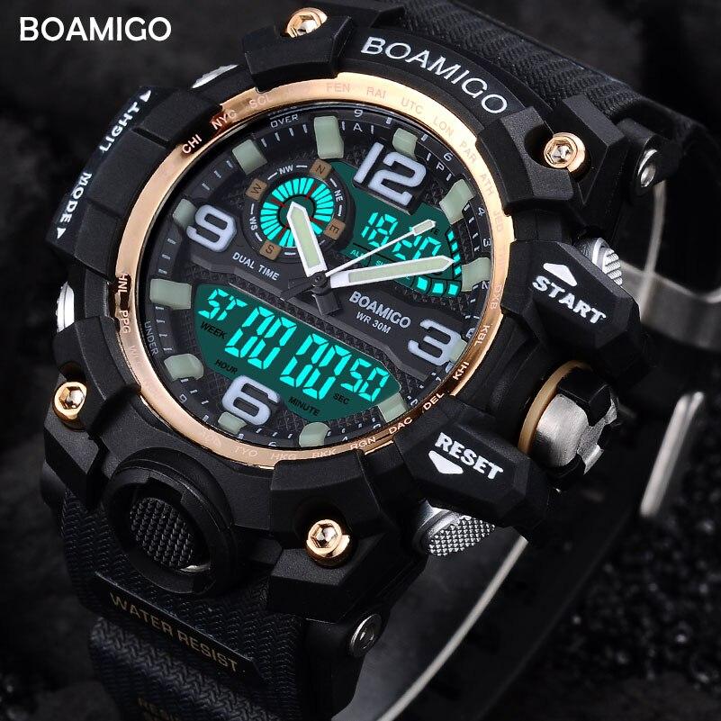 men sport watches dual display digital LED watch fashion quartz watch BOAMIGO brand rubber wristwatch gift