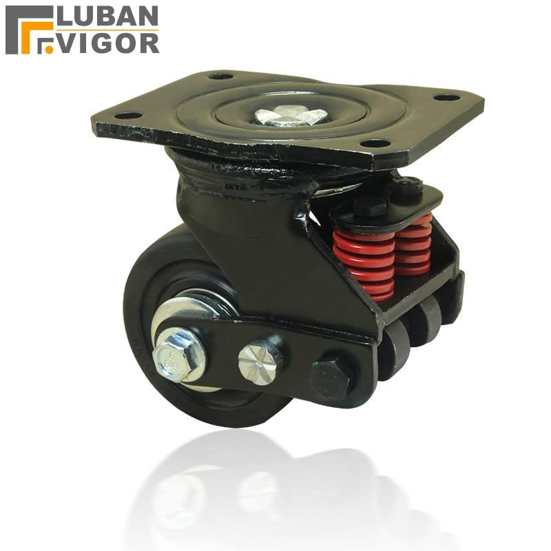 Roue universelle d'amortissement silencieuse de 3 pouces avec ressort, roulette antisismique de roue, pour équipement lourd, porte, roulettes industrielles