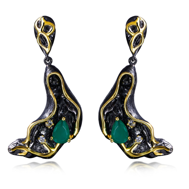 DC1989 Wholesale Free style Green Drop stone Black Gold Plated White AAA Cubic Zirconia Copper Drop earrings for women ZE52784