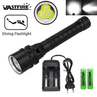 VASTFIR Waterproof 1500lm 3 T6 LED Torch Lamp Underwater 100M Diving Flashlight Scuba Flashlight Lantern with 18650 Battery