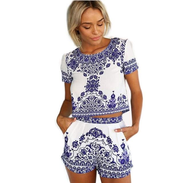 2017 summer new festa Women Plus Size China element pattern short Sleeve Top + Shorts Mini Club Party 2pcs Women's Sets