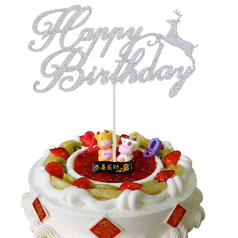 20pcs/lot Cake Flag Elk Happy Birthday Cake Toppers Christmas Theme Birthday Party Cake Decoration Wholesale Supplies DIY