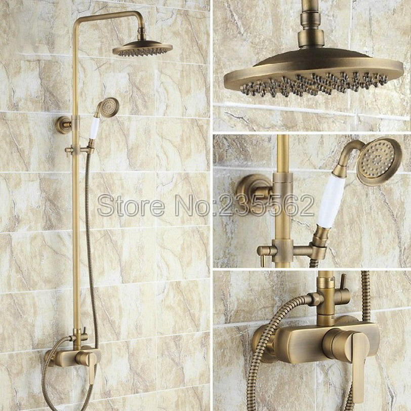 Antique Brass Single Handle Bathroom Rain Shower Faucet Set with Ceramic Handheld Shower + 8 inch Shower Heads lrs176