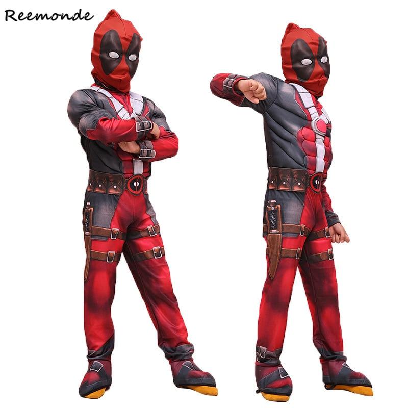 Movie Deadpool Cosplay Costumes Wade Wilson Children Deluxe Muscle Suit Kids Deadpool Costume Boys Baby Girls Halloween Carnival