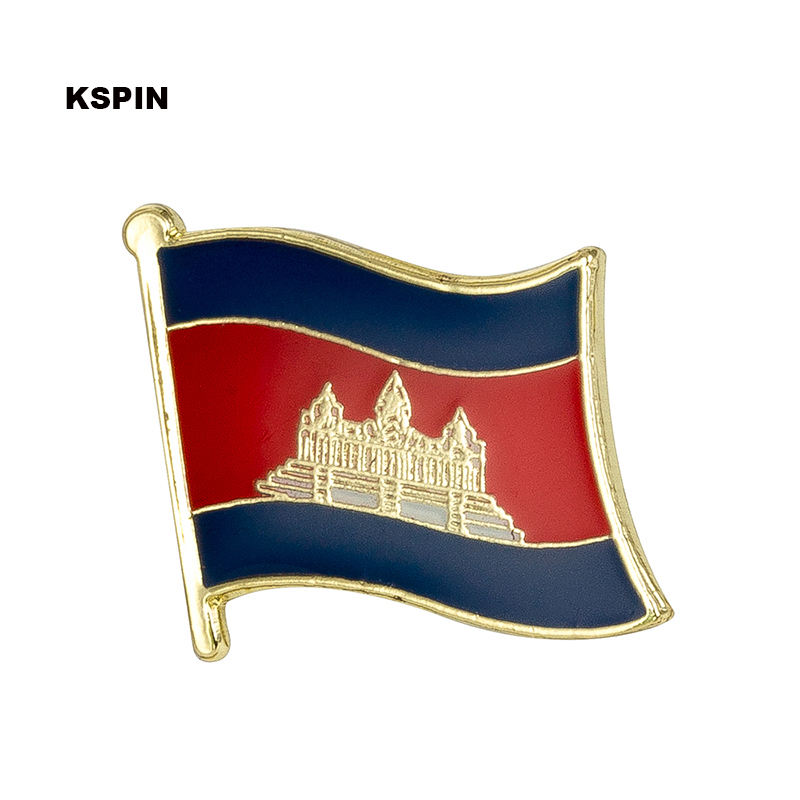 Cambodia Country Flag Metal Lapel Pin Badges For Clothing Brooches For Women/Men Badges For Backpacks KS-0086