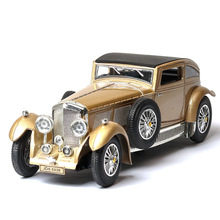 1:32 classic car model ben tley 8L antique simulation sound and light pull back ornaments retro toy gift