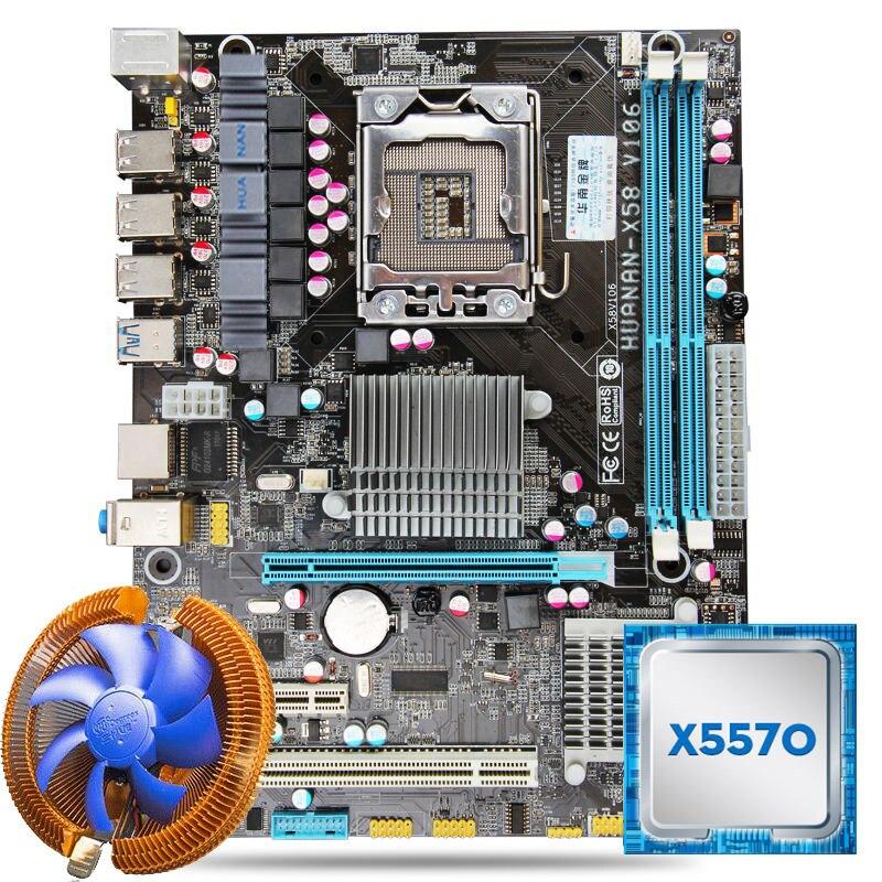 Huanan USB3.0 X58 материнской Процессор комбинации с охладитель X58 LGA1366 Xeon плате x5570 Процессор Оперативная память двухканальный все испытания