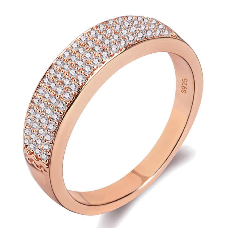 หรูหรากระเบื้องออสเตรียคริสตัล 2 สี Rhinestone แหวนหญิง 925 Anillos เครื่องประดับเงินผู้หญิง Anel แหวน