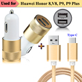 Type C Charging Data Cable & Dual USB Car Charger Power Adapter for Huawei Nova, Nova Plus, Honor Note 8, Honor 8 V8 P9 P9 Plus