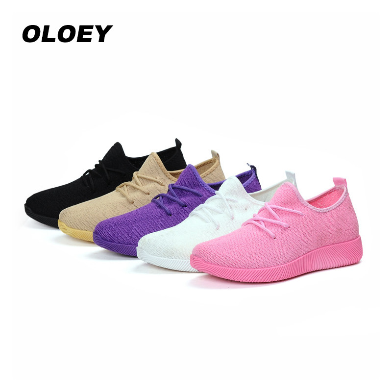 2018 new Women's Casual Breathable Air Mesh Shoes Lightweight Slip On Summer Flats dames sneakers sneakers white woman