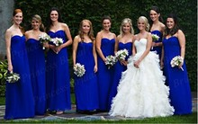 Free Shipping New Fashion Hottest Style Sheath Sweetheart Floor Length Royal Chiffon Blue Bridesmaid Dress BD022