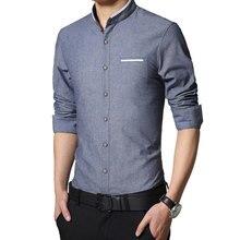 c231ebf616 Nuevos hombres de la marca Casual Camisa manga larga con banda fácil  cuidado camisas sin cuello Slim Fit camisa de vestir para l.