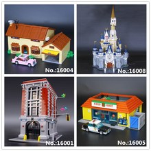 Лепин 16004 Охотники за привидениями пожарный дом штаб 16001 Симпсоны Барт Гомер 16005 Kwik-E-Mart 16008 замок строительный блок игрушки