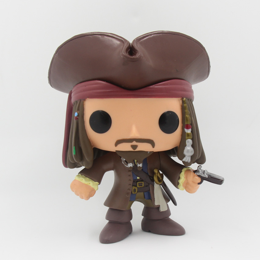 FUNKO POP Pirates of the Caribbean Jack Sparrow with Gun Vinyl PVC Action Figure Collectible Model Toy AFD269  funko vinyl invaders robot batman pvc action figure collectible model toy 12 30cm