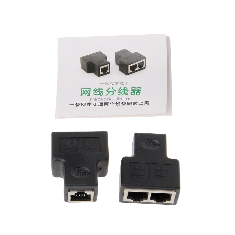 2Pcs RJ45 Network Splitter 1 To 2 Female Coupler Adapter CAT5/CAT 6 LAN Ethernet Network Splitter