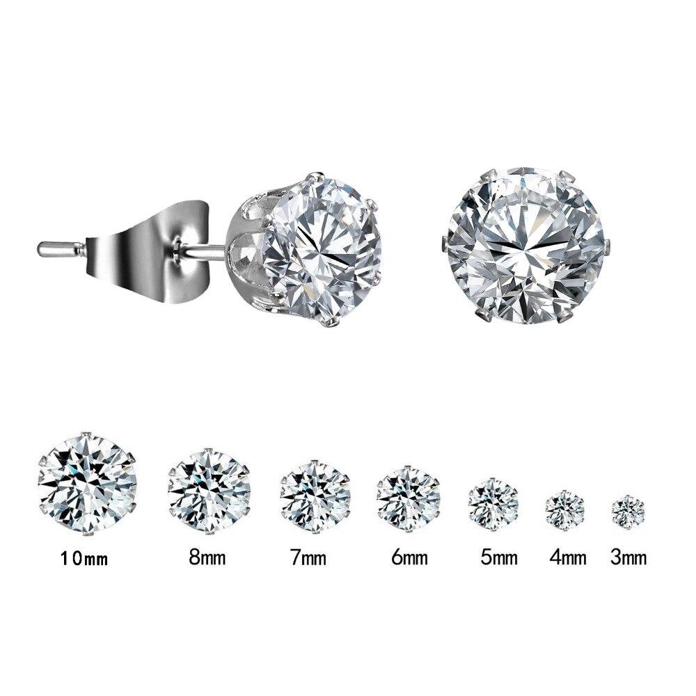 1 Pair Silver Round Stud Earrings For Women CZ AAA Zircon Ear Piercing Studs Surgical Steel Jewelry 3mm-10mm Women Girl Gift