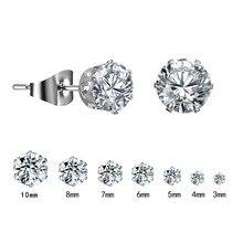 цена на 1 Pair Silver Round Stud Earrings For Women CZ AAA Zircon Ear Piercing Studs Surgical Steel Jewelry 3mm-10mm Women Girl Gift