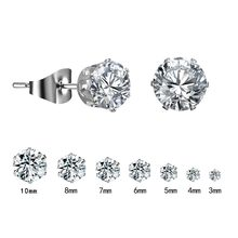 1 Pair Silver Round Stud Earrings For Women CZ AAA Zircon Ear Piercing Studs Surgical Steel Jewelry 3mm-10mm Women Girl Gift(China)