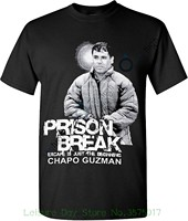 T-shirt de algodão Moda Camiseta El Chapo Gráfico Camisetas Logotipo Branco Prison Break Sólidos Fit T Do Logotipo
