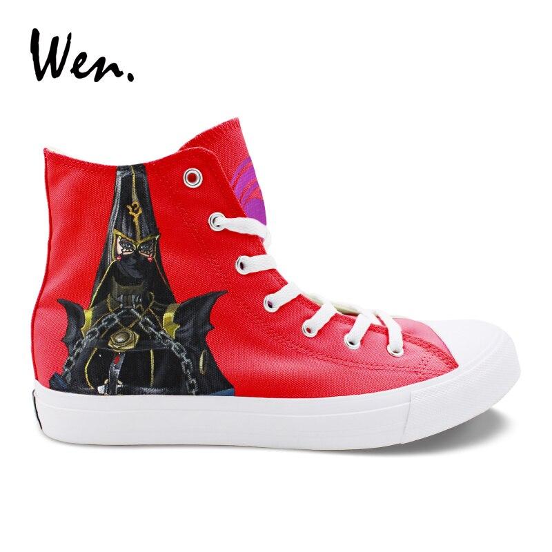 f33a23b52 Вэнь ручная роспись обувь дизайн высокие спортивная обувь Bayonetta и Rosa  для мужчин женщин холст резиновые кроссовки для уникальные подарки