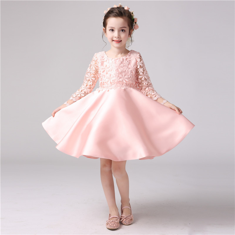 6c3d4b725 Girls Elegant Wedding Pink Dress Lace Trimmed Embroidered Western ...