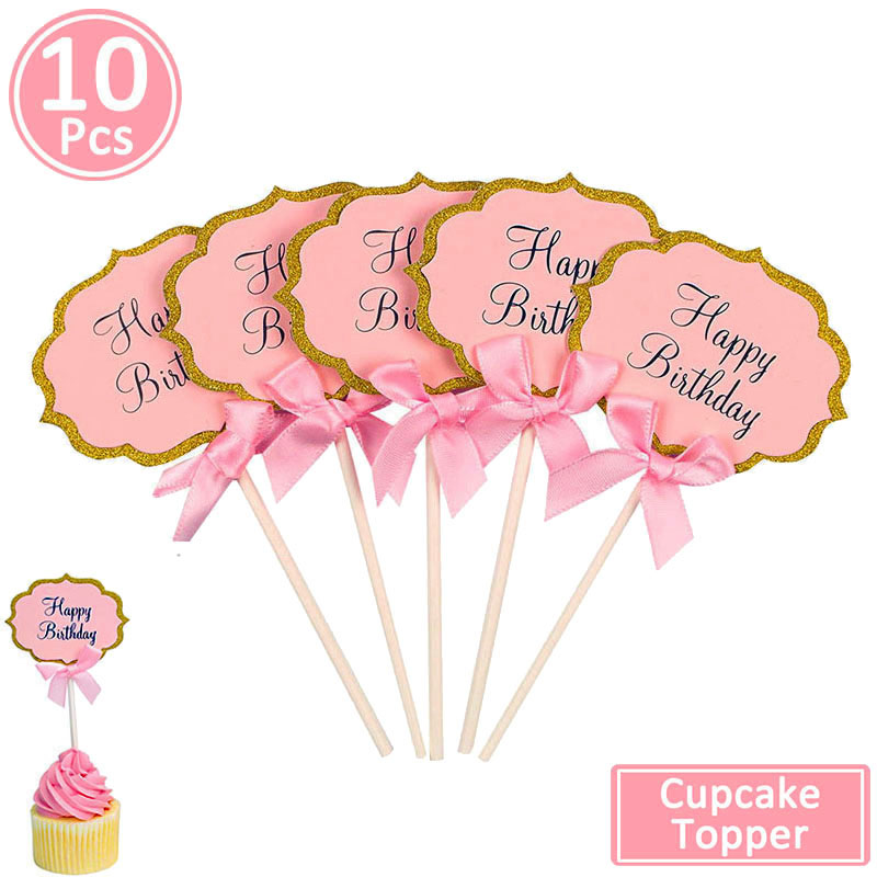 Image 4 - 10pcs Happy Birthday Cupcake Topper 1st Birthday Party Decorations Baby Girl First Birthday Boy Party My One Year Supplies-in Banners, Streamers & Confetti from Home & Garden