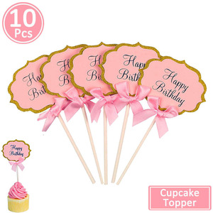 Image 4 - 10pcs Happy Birthday Cupcake Topper 1st Birthday Party Decorations Baby Girl First Birthday Boy Party My One Year Supplies