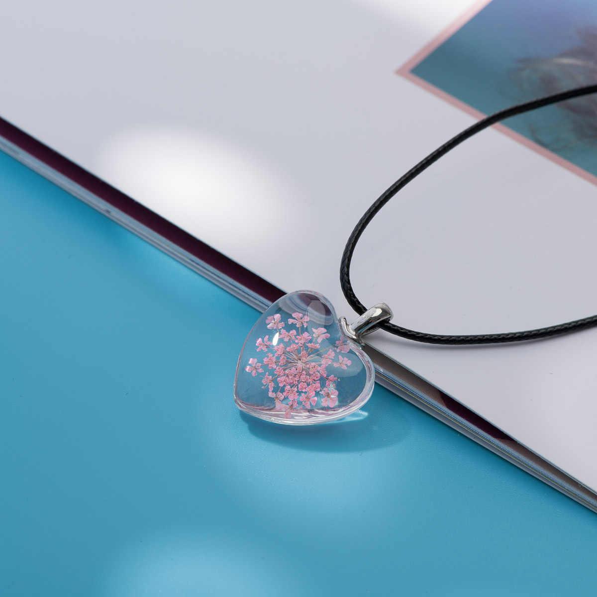 愛好家桃ハートガラスペンダント時間宝石の女性のネックレスギフトフラワーペンダントガールフレンドのため # FY405